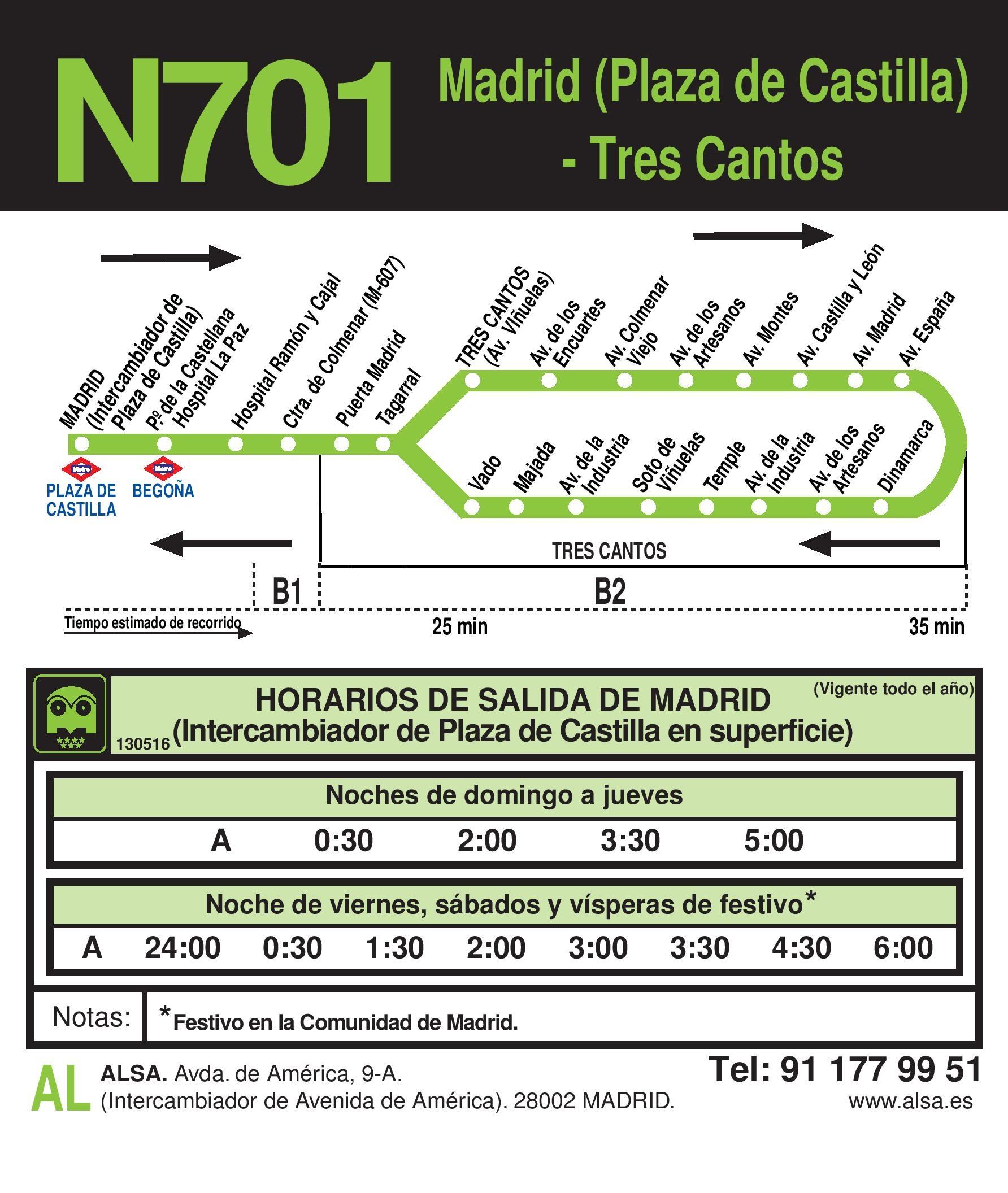 Autobus Tres Cantos línea n701 ida