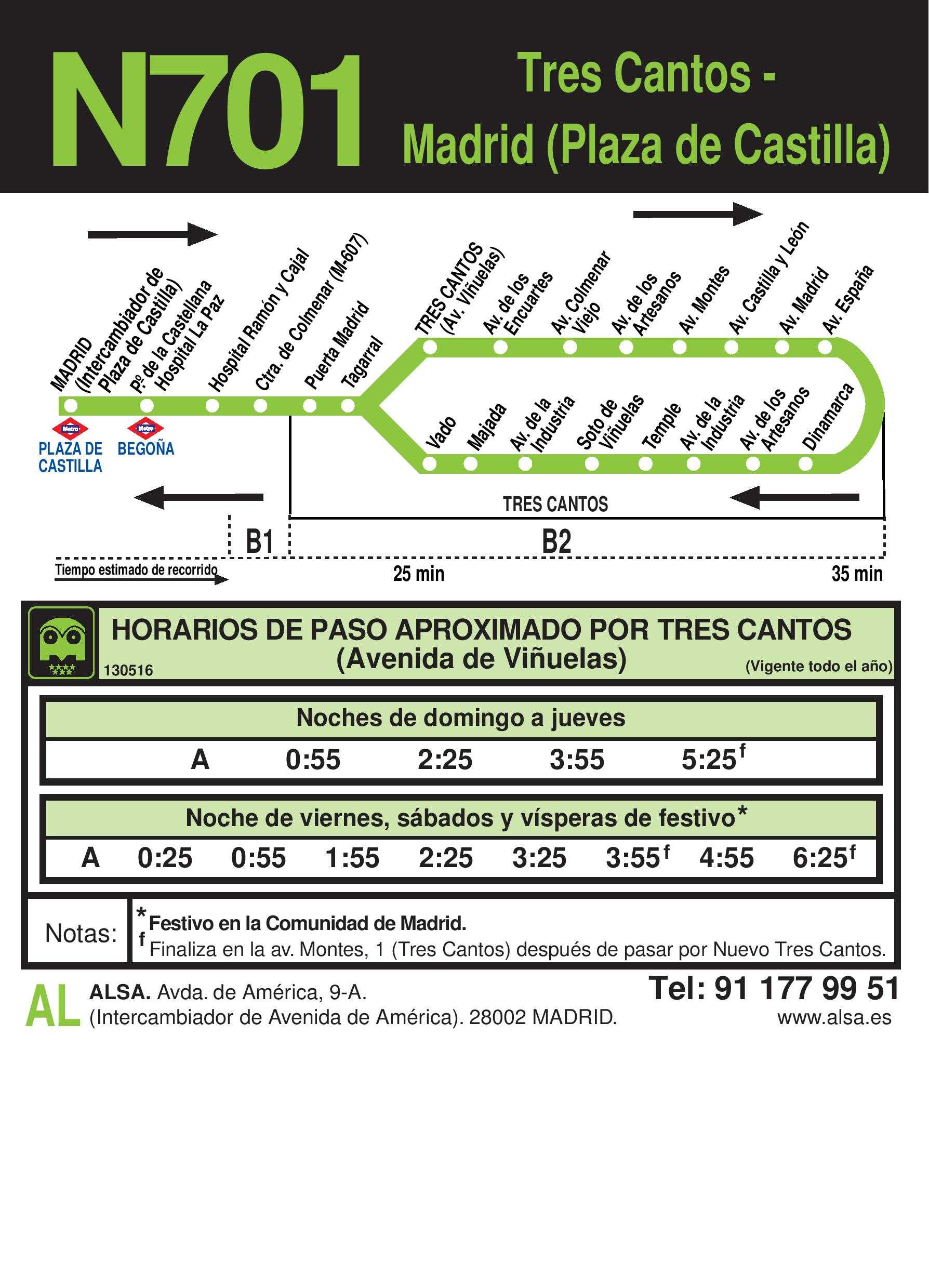 Autobus Tres Cantos línea n7017 vuelta