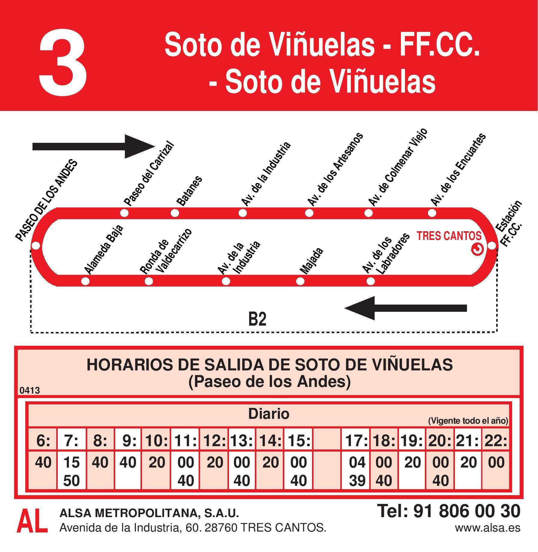 Autobus Tres Cantos línea 3 ida