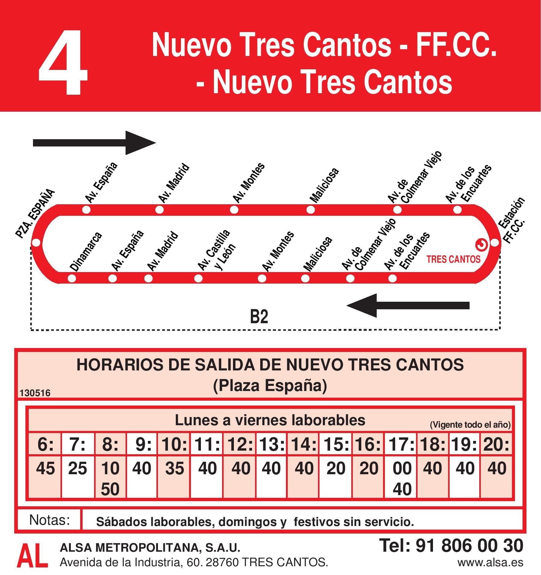 Autobus Tres Cantos línea 4 ida