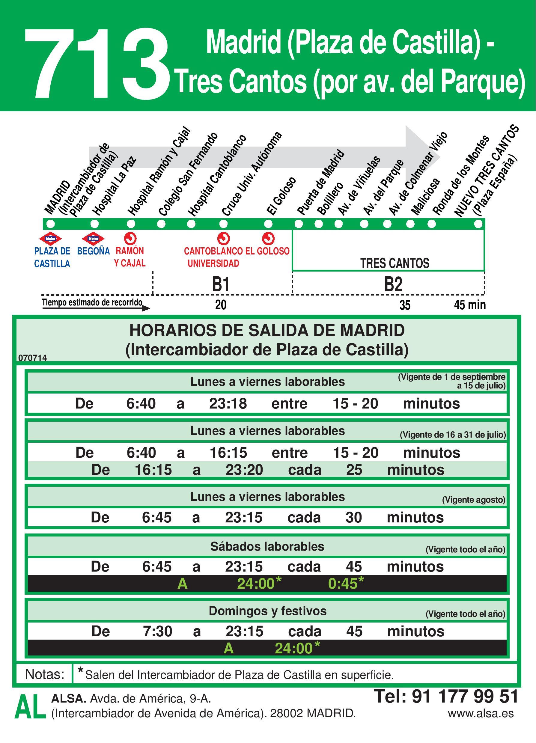 Autobus Tres Cantos línea 713 ida