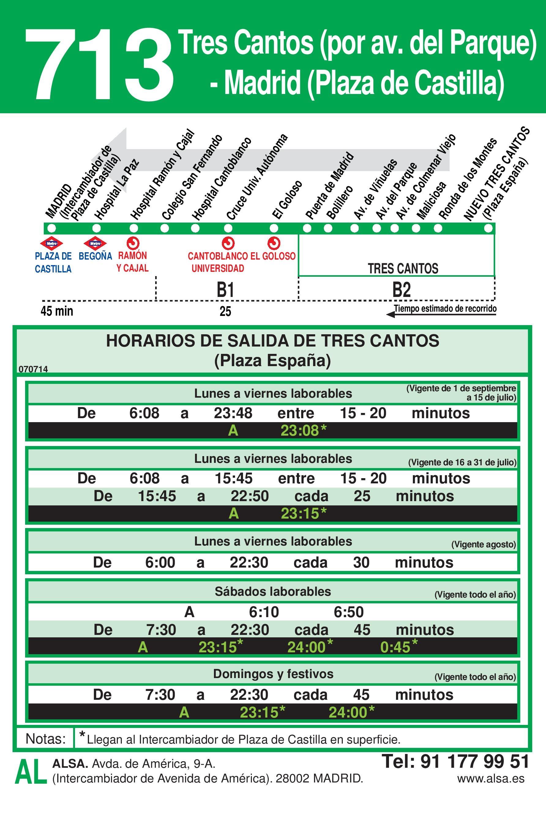 Autobus Tres Cantos línea 713 vuelta