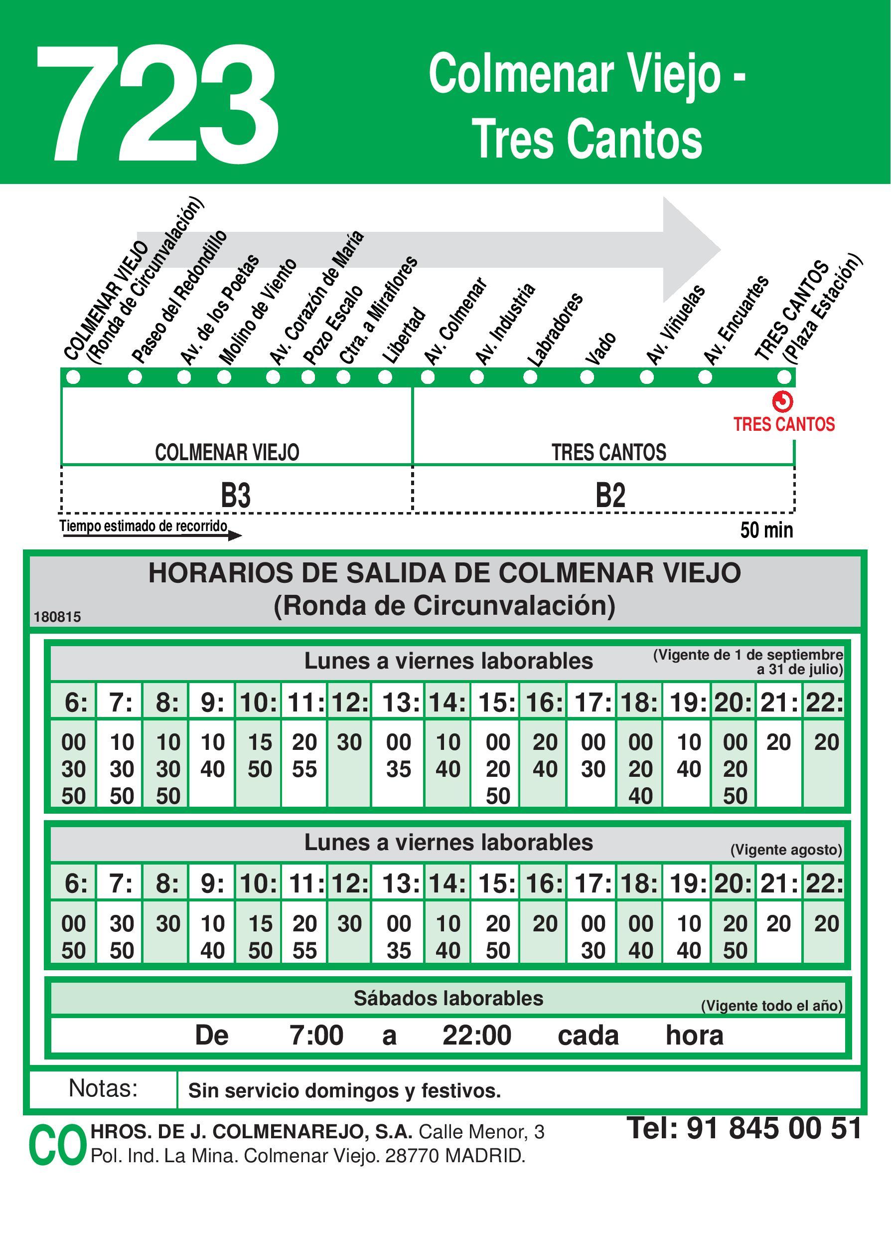 Autobus Tres Cantos línea 723 ida