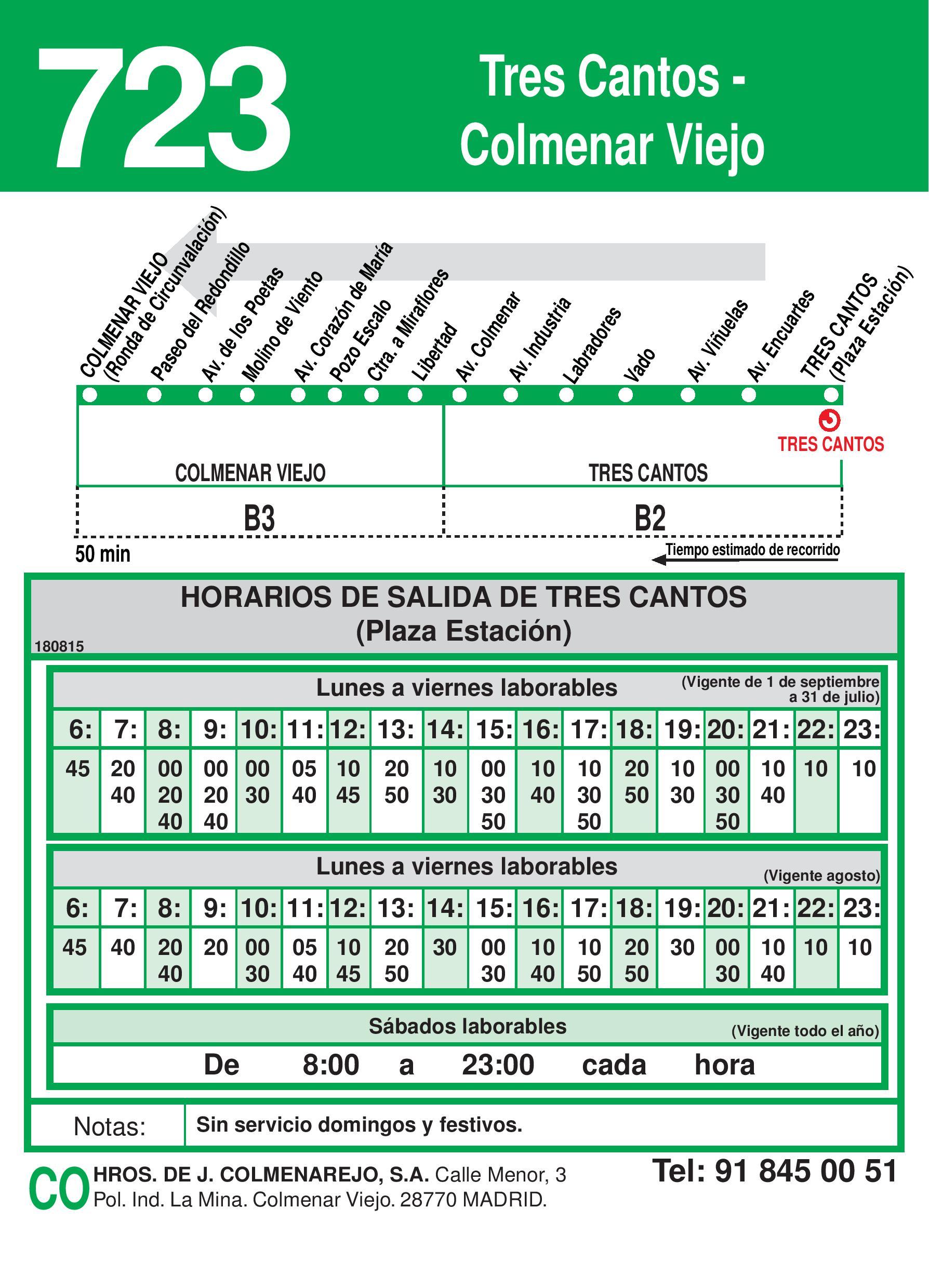 Autobus Tres Cantos línea 723 vuelta