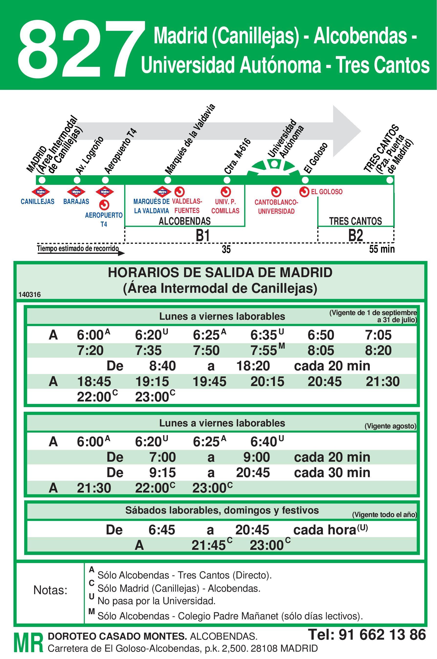 Autobus Tres Cantos línea 827 ida