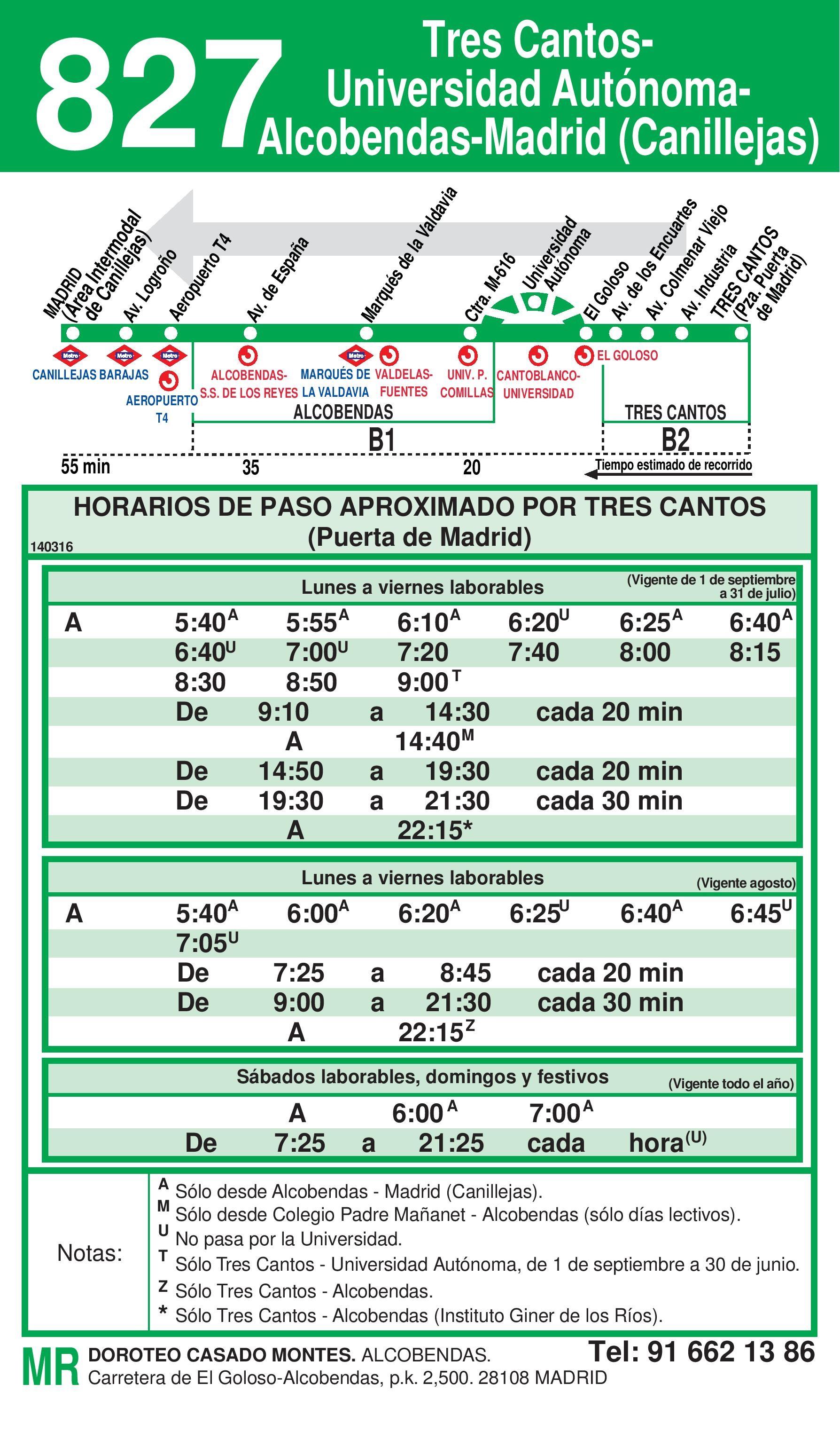 Autobus Tres Cantos línea 827 vuelta