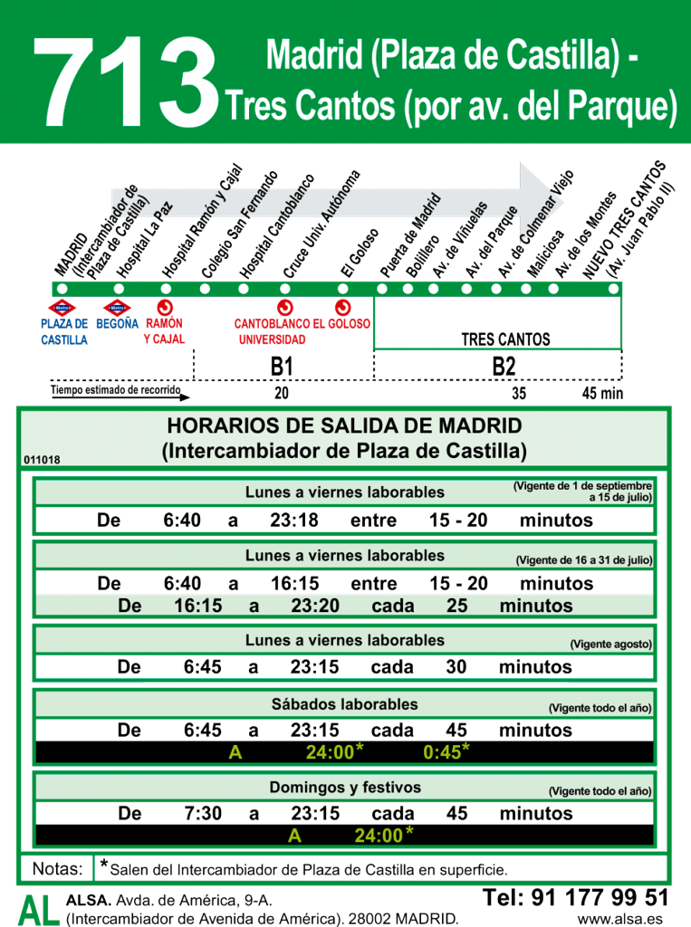 Linea 713 Madrid-Tres Cantos
