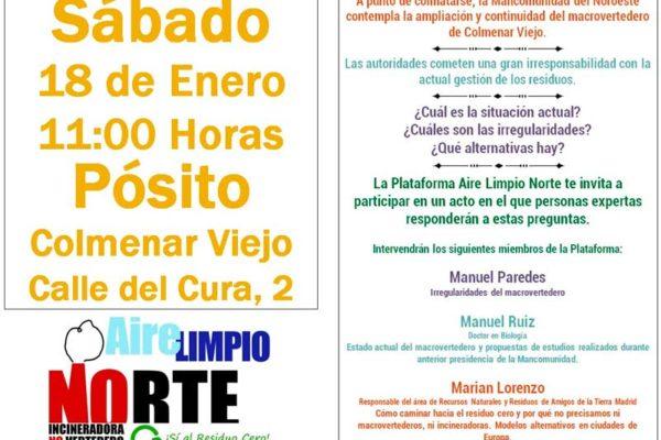 Nota de prensa acto de la Plataforma Aire Limpio en Colmenar Viejo
